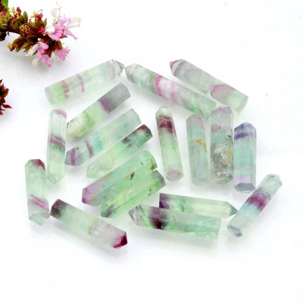 "347Cts. 18Pcs Natural Rainbow Fluorite Point Wand Mini Tower Pencil Crystal Polished Rainbow Fluorite Wholesale Lots Size 1.5"" 2"" Inch"
