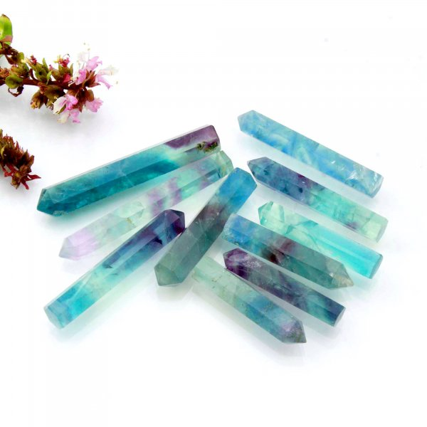 "401Cts. 10Pcs Natural Rainbow Fluorite Point Wand Mini Tower Pencil Crystal Polished Rainbow Fluorite Wholesale Lots Size 1.5 2.5"" Inch"