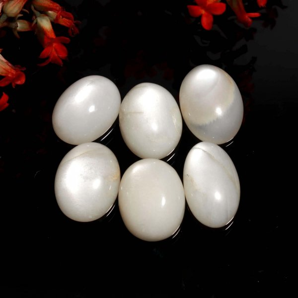 155Cts 6Pcs Natural Gray Moonstone Ring Size Wholesale Lot Mix Cabochon Loose Gemstone 20x16 mm.