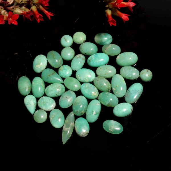 37 Pcs. 144Cts Natural Green Chrysoprase Mix Cabochon Loose Gemstone Lot 11X9 22x5 mm.