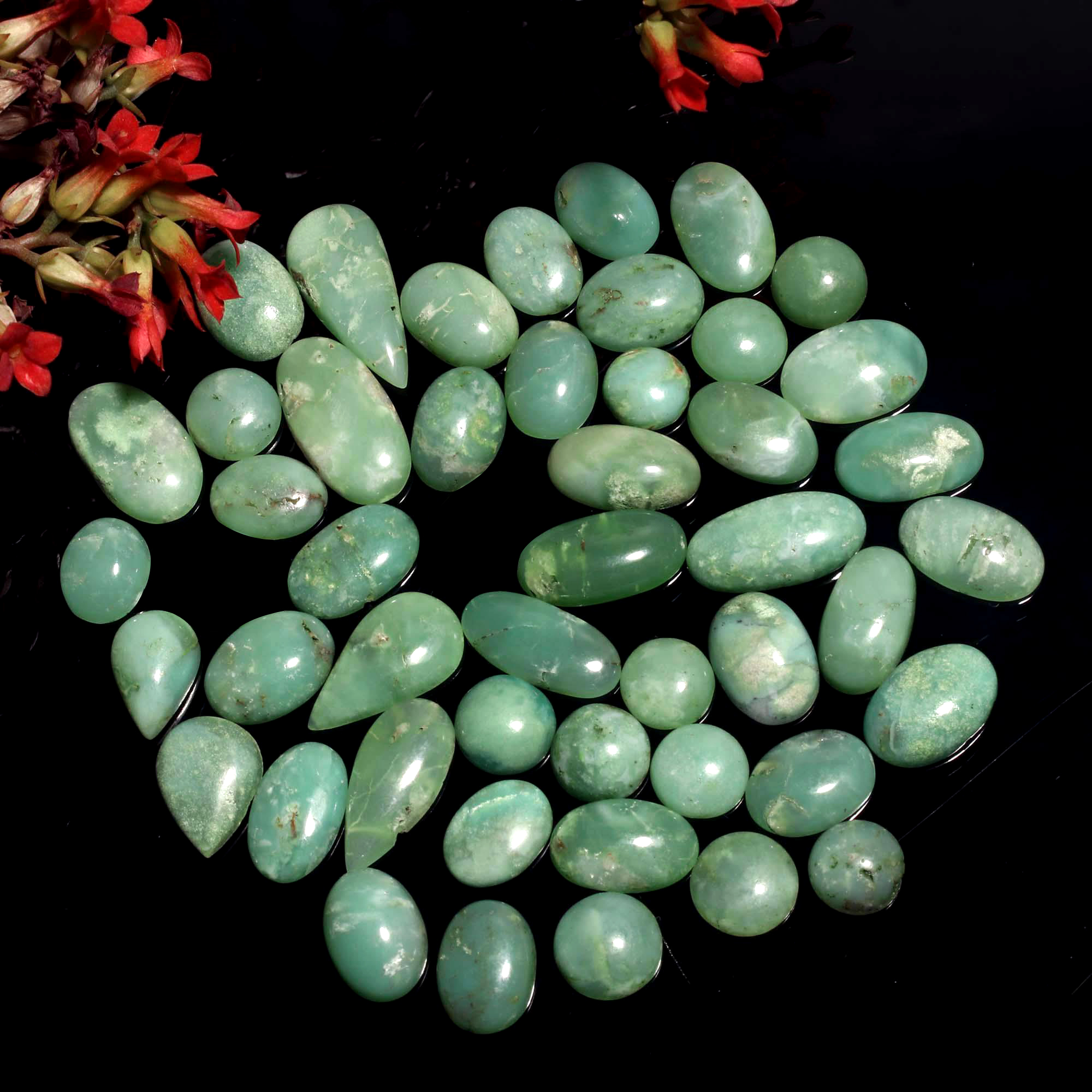 2 Pairs Chrysoprase Pair Lot of Cabochons