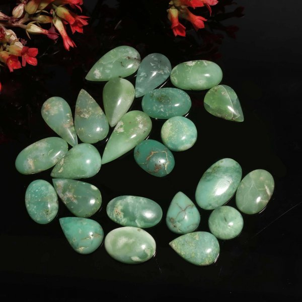 23Pcs. 204Cts Natural Green Chrysoprase Mix Cabochon Loose Gemstone Lot 15x12  30x10 mm.