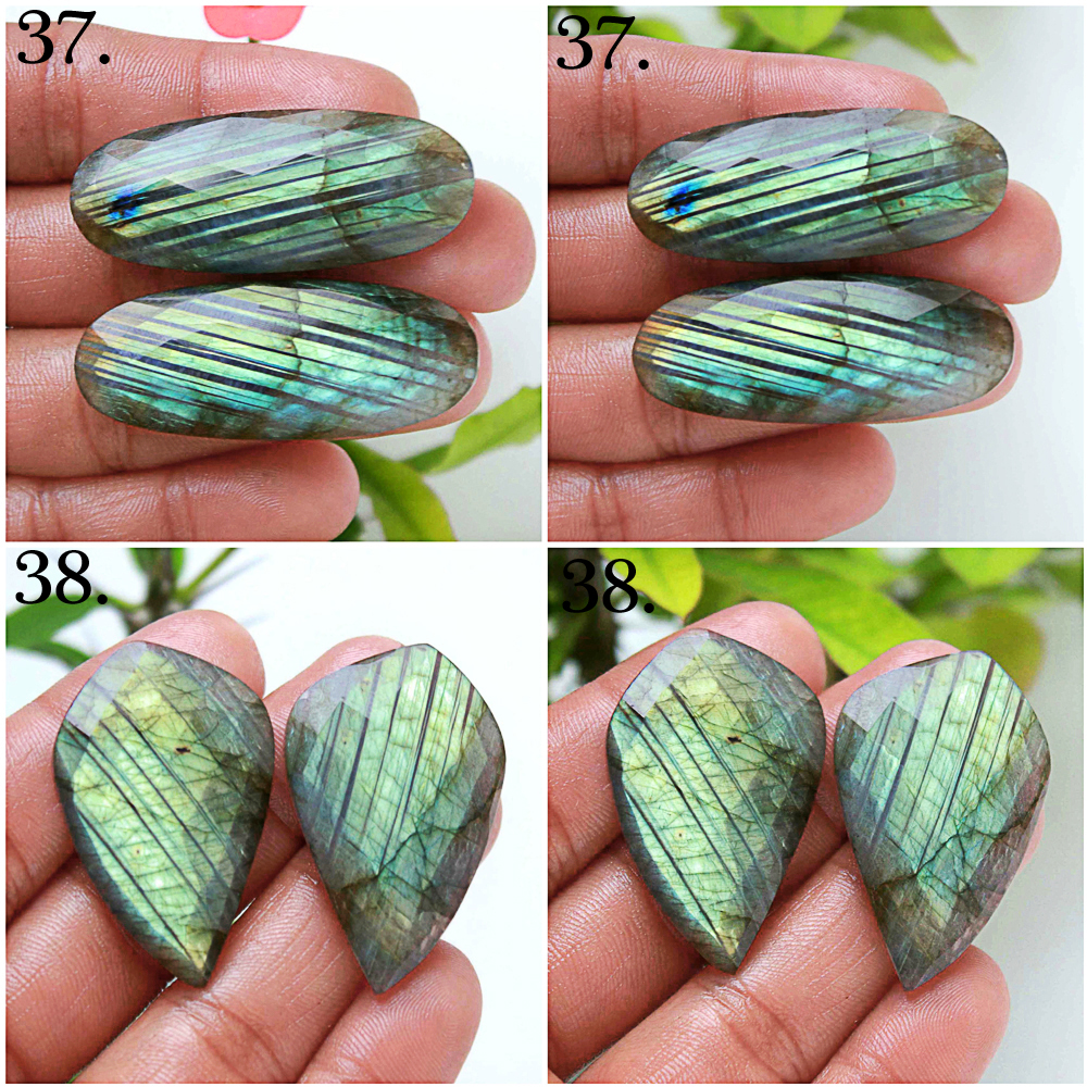 Labradorite rose faceted pair mix shape cabochon loose gemstone
