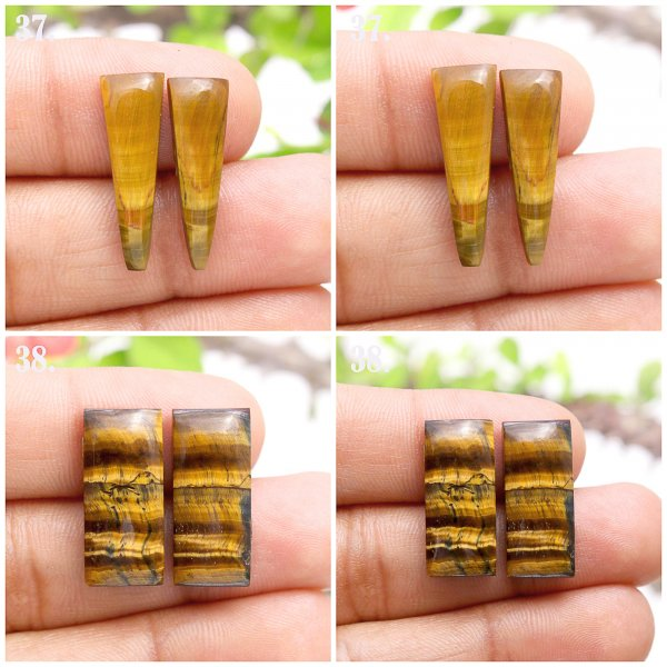 Natural Golden Tiger Eye Mix Shape pair cabochon loose gemstone