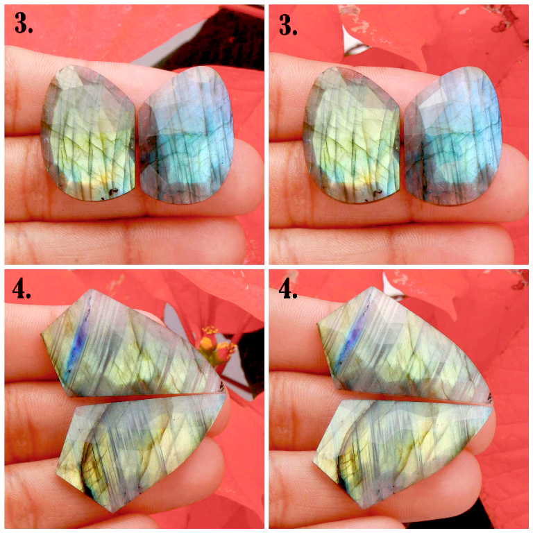 Natural Multi Fire Labradorite Rose Cut Faceted Pair Cabochon Mix Shape Loose Gemstone