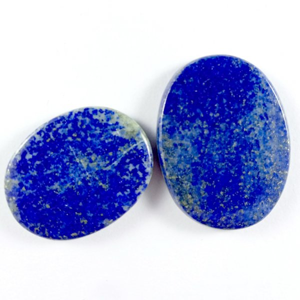 124CTS 2Pcs. NATURAL BLUE LAPIS LAZULI OVAL CABOCHON LOOSE GEMSTONE LOTS