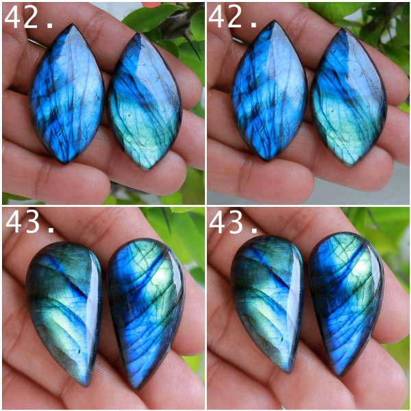 Natural Labradorite pair cabochon loose gemstone