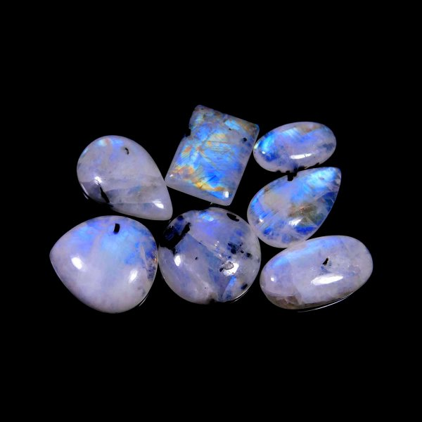 7 Pcs. 103Cts. Natural Blue Fire Rainbow Moonstone Mix Cabochon Wholesale Lot Gemstone 34x14 19x11 mm.
