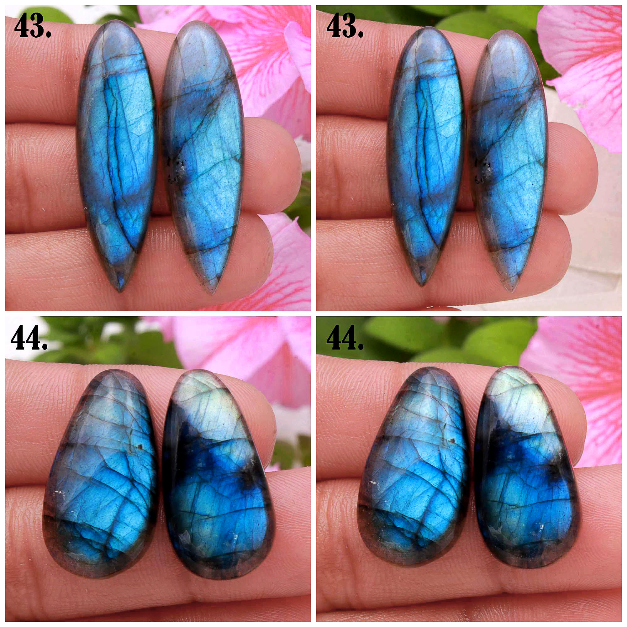 Natural Blue Fire Labradorite Mix Shape Cabochon Loose Gemstone