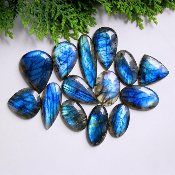 14 Pcs. 477Cts. Natural Blue Fire Labradorite Mix Cabochon Loose Gemstone Wholesale Lot Size 49x15 30x20 mm.