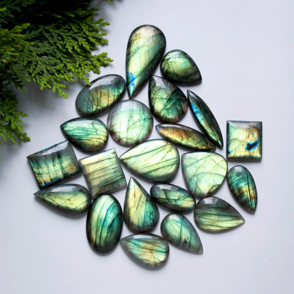 21 Pcs. 622Cts. Natural Multi Fire Labradorite Mix Cabochon Loose Gemstone Wholesale Lot Size 48x23 27x20 mm.