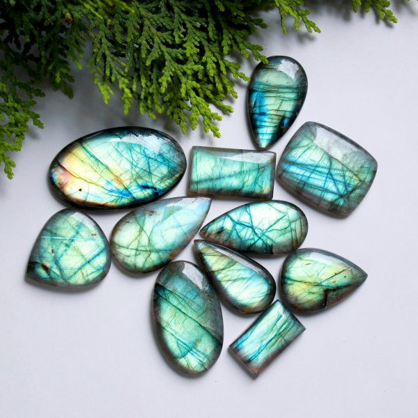 11 Pcs. 368Cts. Natural Multi Fire Labradorite Mix Cabochon Loose Gemstone Wholesale Lot Size 45x27 22X14 mm.