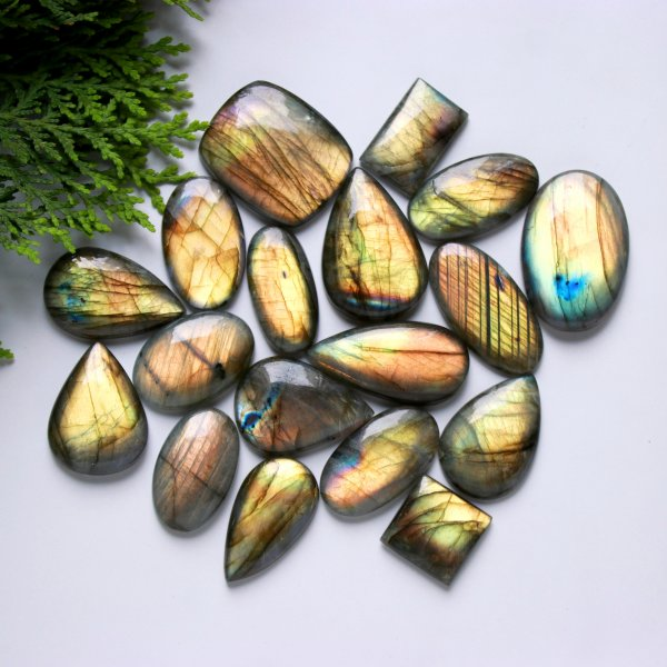 18 Pcs. 528Cts. Natural Multi Fire Labradorite Mix Cabochon Loose Gemstone Wholesale Lot Size 38X25 19X19 mm.