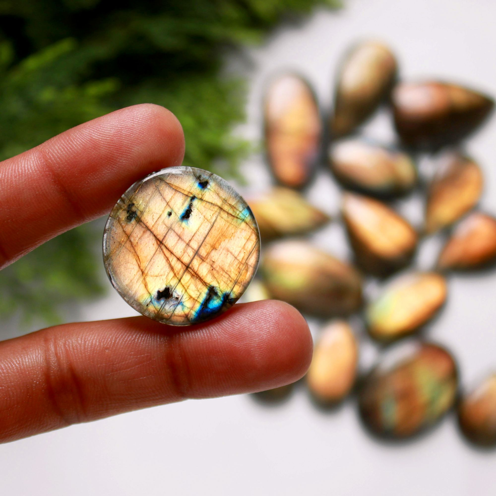 17 Pcs. 519Cts. Natural Multi Fire Labradorite Mix Cabochon Loose Gemstone Wholesale Lot Size 41X22 25x18 mm.