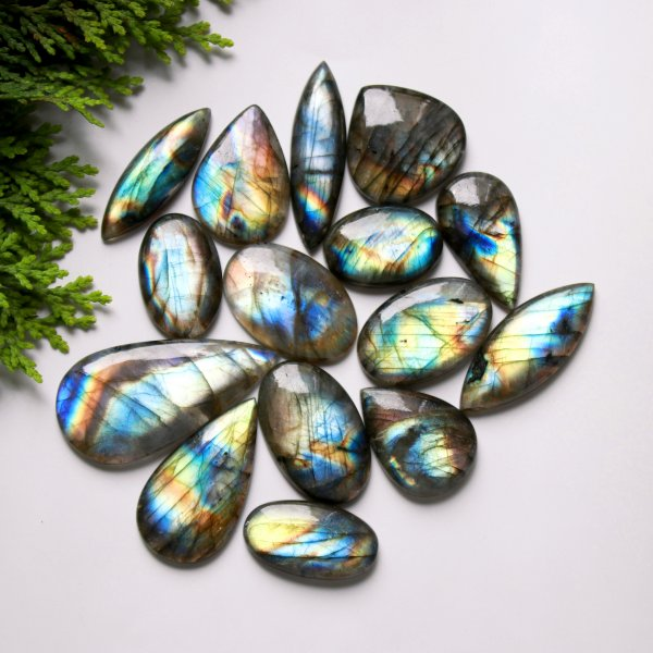 15 Pcs. 388Cts. Natural Multi Fire Labradorite Mix Cabochon Loose Gemstone Wholesale Lot Size 48x24 26x18 mm.