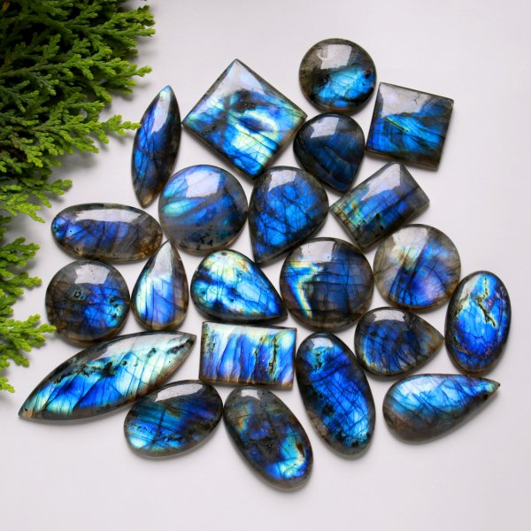 22 Pcs. 620Cts. Natural Multi Fire Labradorite Mix Cabochon Loose Gemstone Wholesale Lot Size 55x20 20X28 mm.