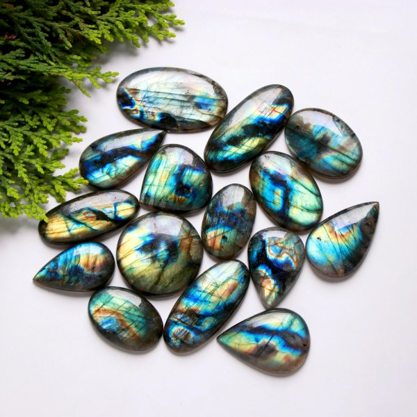 15 Pcs. 541Cts. Natural Multi Fire Labradorite Mix Cabochon Loose Gemstone Wholesale Lot Size 43X25 31x18 mm.