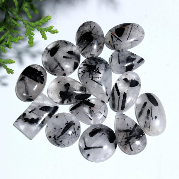 14 Pcs. 239Cts. Natural Black Crystal Rutile Quartz Mix Cabochon Loose Gemstone Wholesale Lot Size 28X18 20x14mm.