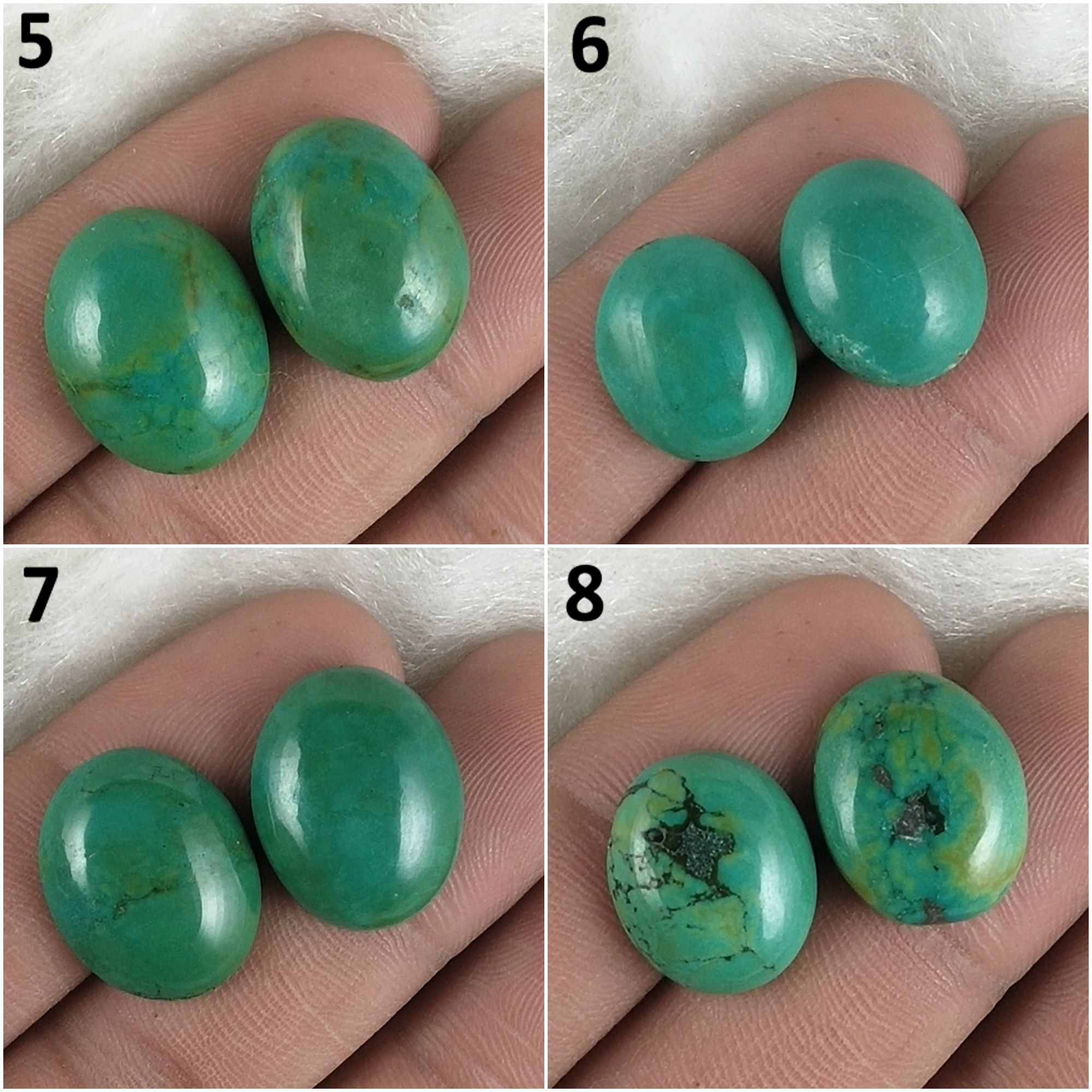 Tibet Turquoise Cabochon Gemstone Matched Pair