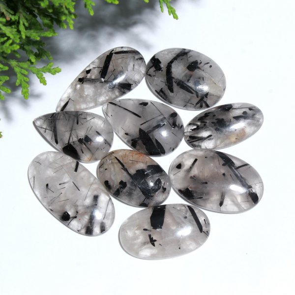 9 Pcs. 290Cts. Natural Black Crystal Rutile Quartz Mix Cabochon Loose Gemstone Wholesale Lot Size 35x22 28x19 mm.