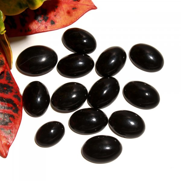 13 Pcs 312Cts. Synthetic Black Glass Oval Cabochon Loose Gemstone wholesale Lots 18 X 25 MM.