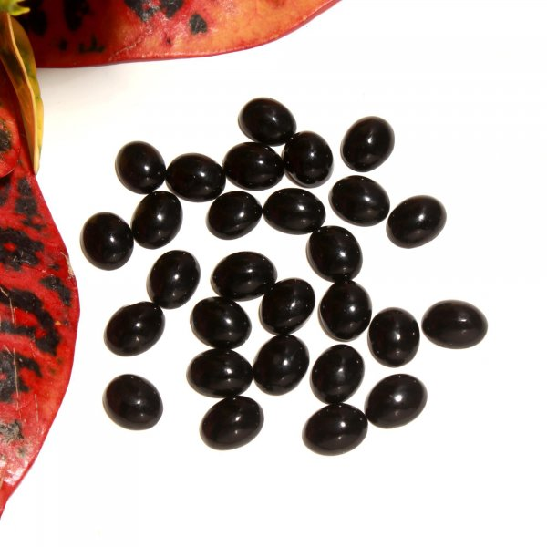 28 Pcs 49Cts. Synthetic Black Glass Oval Cabochon Loose Gemstone wholesale Lots 8 X 10 MM.