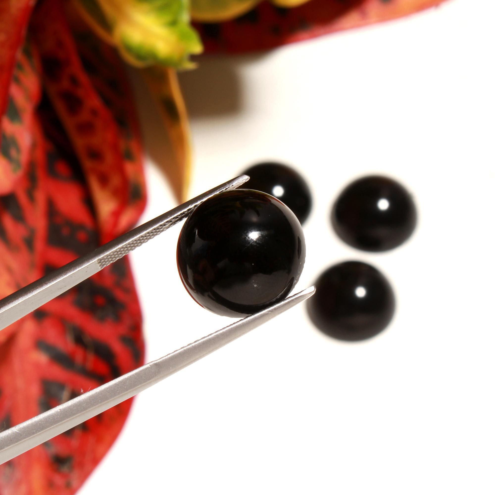 4 Pcs 50Cts. Synthetic Black Glass Round Cabochon Loose Gemstone wholesale Lots 16 X 16 MM.