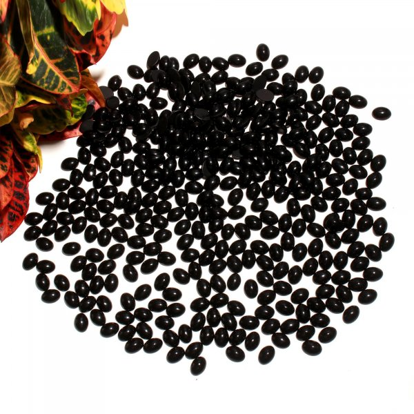 20 Pcs 200Cts. Synthetic Black Glass Oval Cabochon Loose Gemstone wholesale Lots 13 X 18 MM.