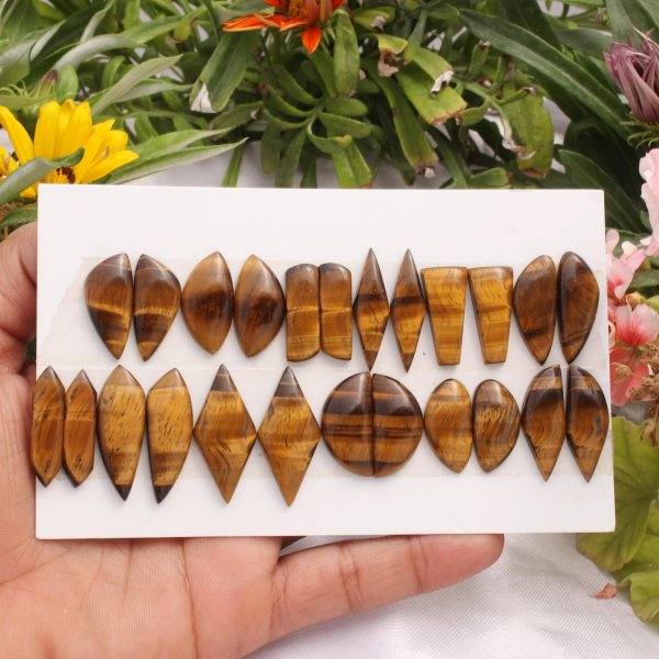 12 Pairs 198Cts. Natural Tiger Eye Mix Pair Cabochon Loose Gemstone Wholesale Lot Size  31x15 21x11mm.