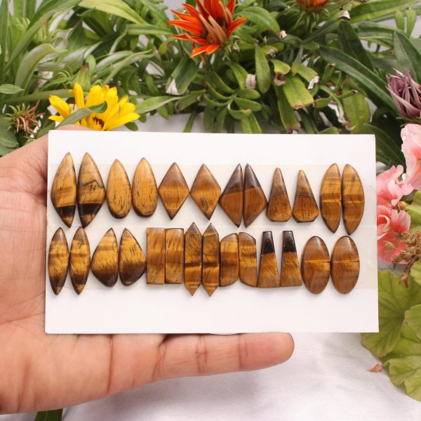 13 Pairs 199Cts. Natural Tiger Eye Mix Pair Cabochon Loose Gemstone Wholesale Lot Size 31X11 22x9 mm.