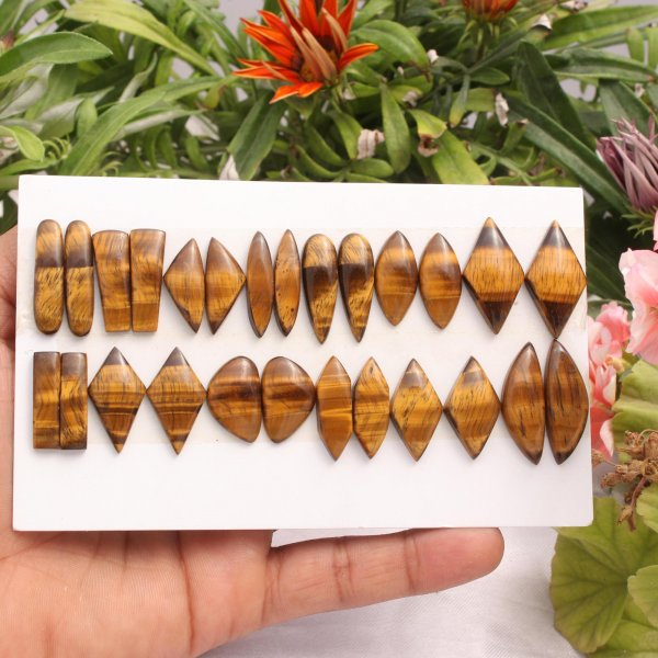13 Pairs 175Cts. Natural Tiger Eye Mix Pair Cabochon Loose Gemstone Wholesale Lot Size 29x10 22X9 mm.