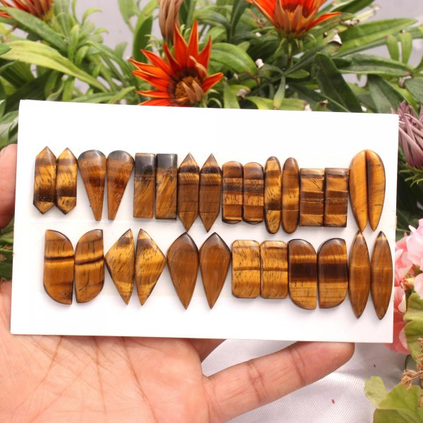 14 Pairs 220Cts. Natural Tiger Eye Mix Pair Cabochon Loose Gemstone Wholesale Lot Size 31X8 20x8 mm.