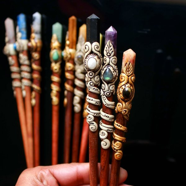 Mix point Gemstone Polymer clay hair stick