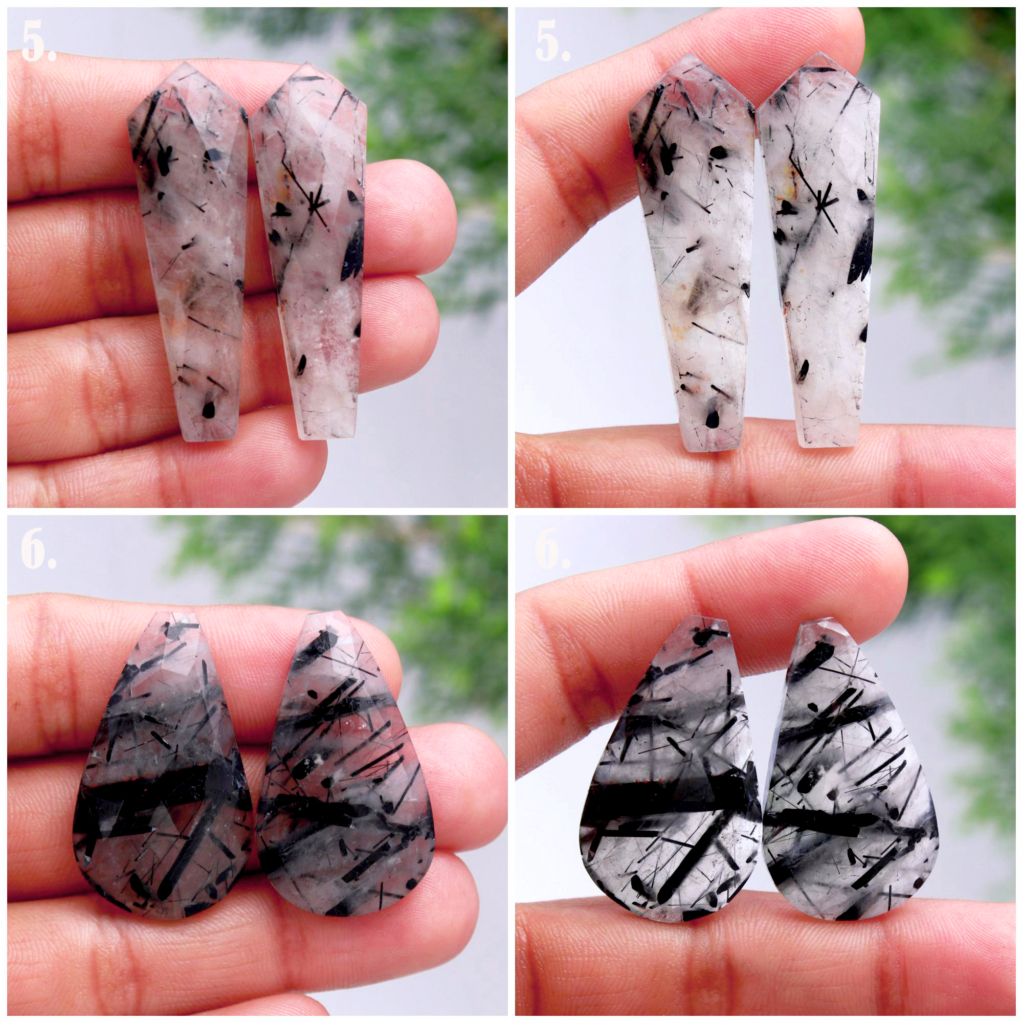 Natural Black Rutile Quartz Faceted Pair Loose Gemstone Rose cut