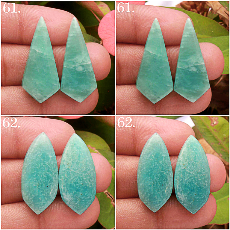 Green Amazonite cabochon pair Mix shape Gemstone