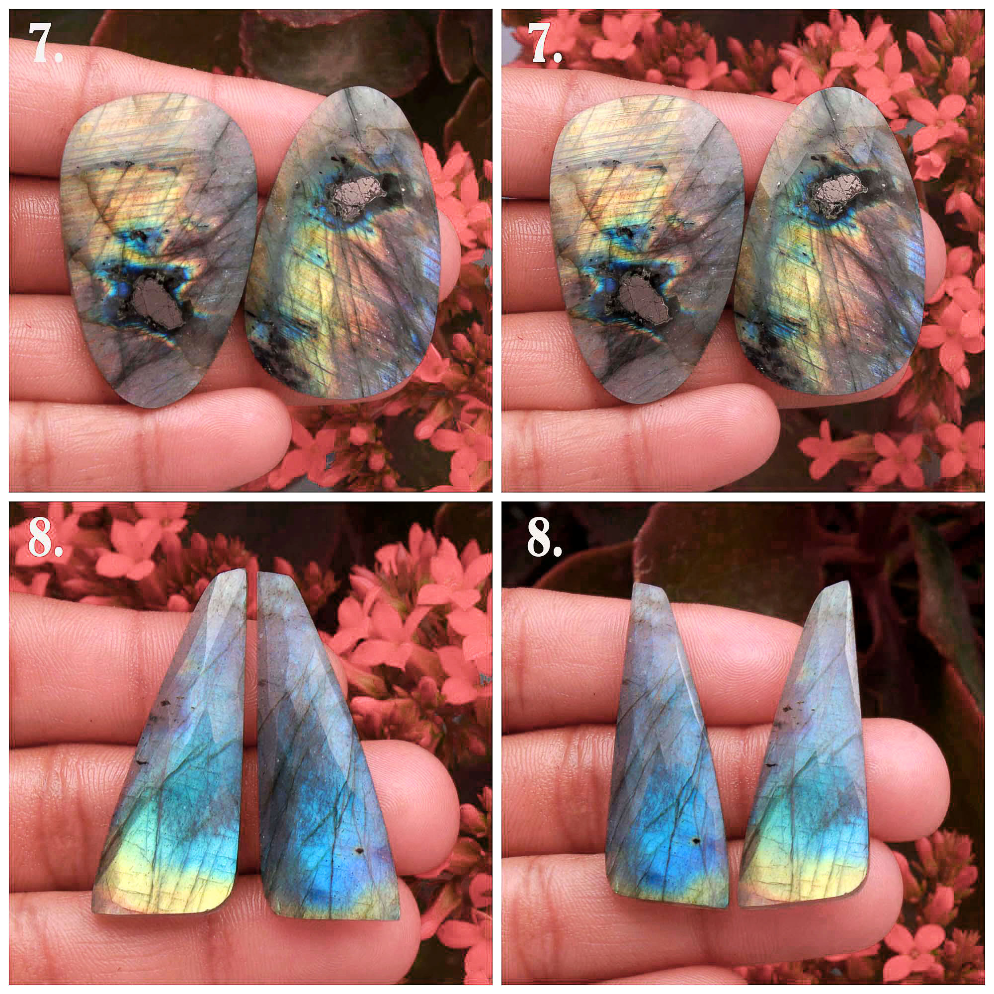 Natural Spectrolite Fire Labradorite Rose Faceted Pair Cabochon Mix Shape Loose Gemstone