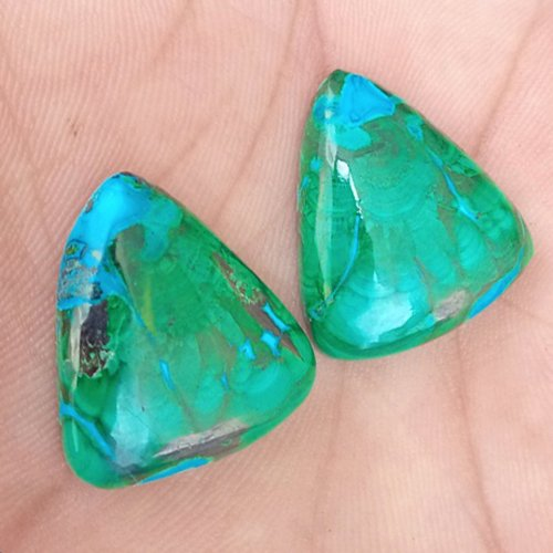 70CTS Natural Malachite Chrysocholla Earring Pair Cabochon Loose Gemstone