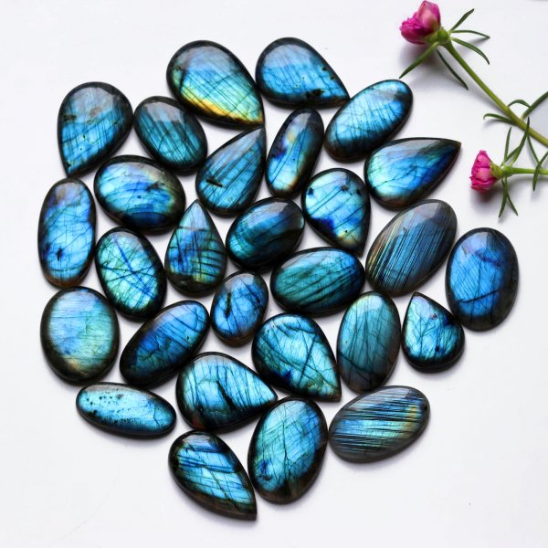 28 Pcs. Lot Natural Mix Shape Multi Labradorite Multi Fire Cabochon Loose Gemstone 1648Cts 43-32mm