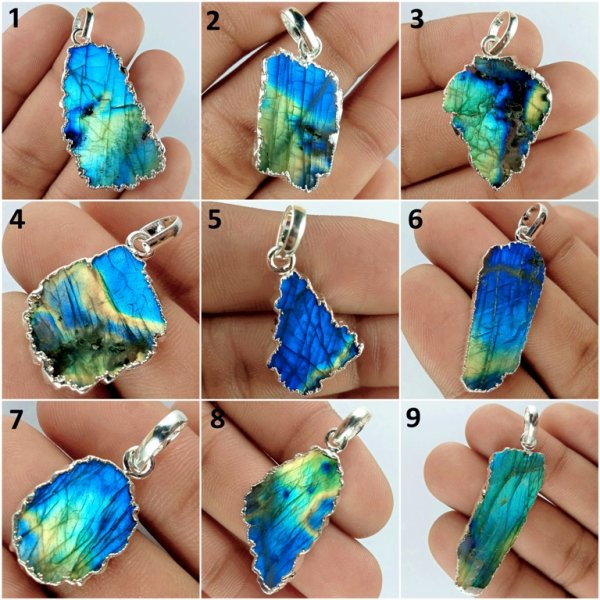 Natural Silver Plated Labradorite Pendant Gemstone