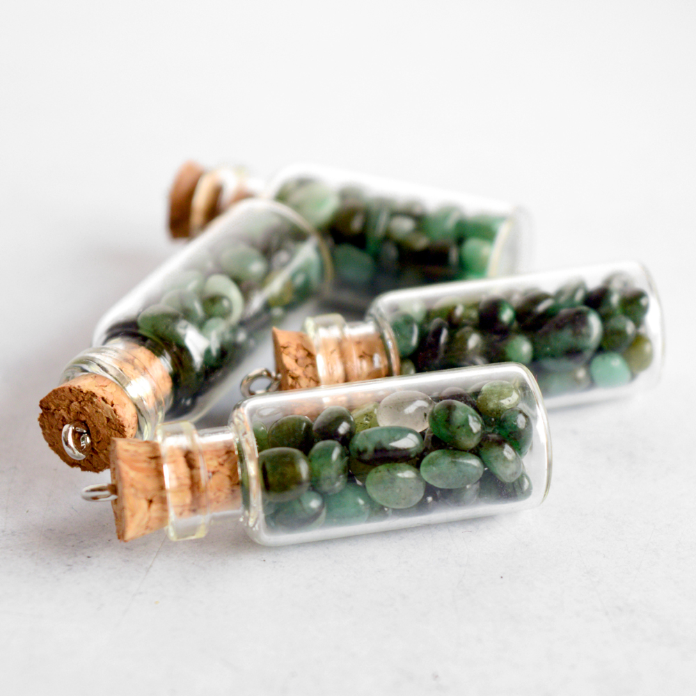 Emerald Glass Cork Bottle