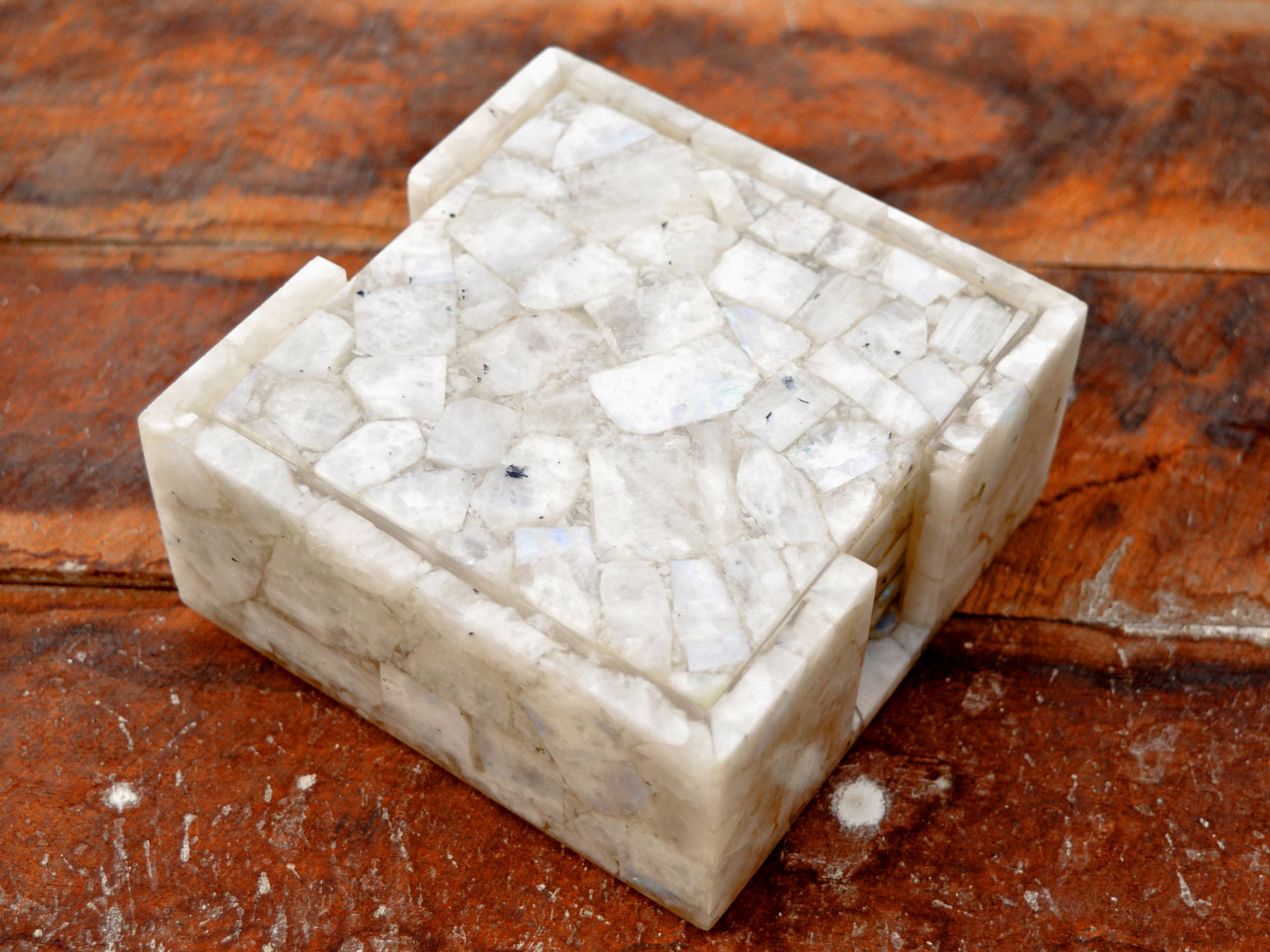 Moonstone  square coasters with stand