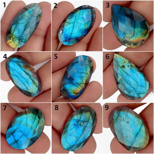 Natural Labradorite Faceted cut loose Cabochon Gemstone
