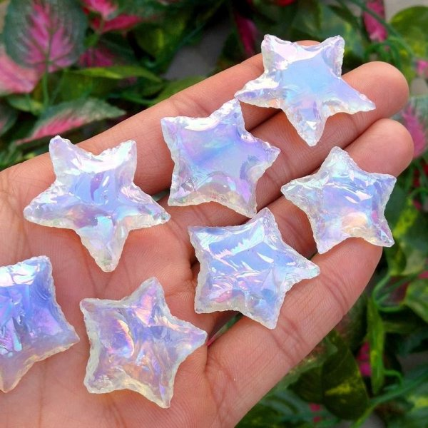 aura opalite star carving pendant gemstone