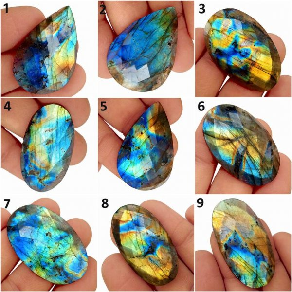 Natural Multi Fire Labradorite Loose Gemstone, Faceted Cut Stones