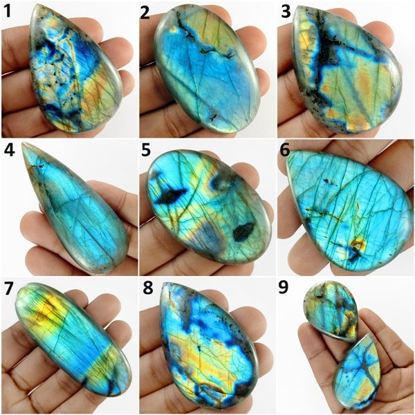 Natural Multi Fire Labradorite Gemstone Cabochon Loose Gemstone Palm stone
