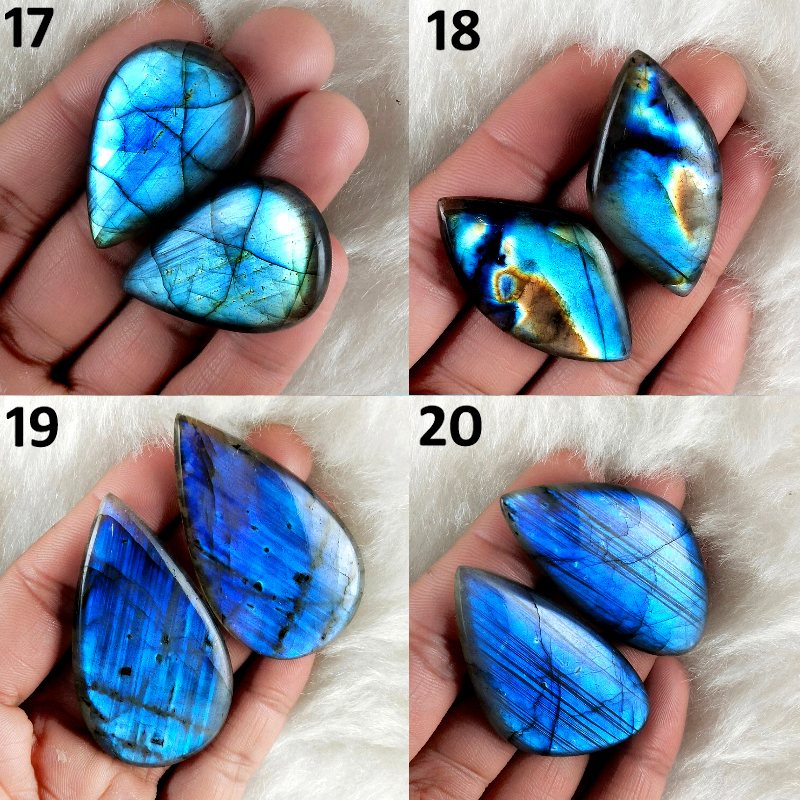 Natural Labradorite Palm Stone Pair, Earring pairs